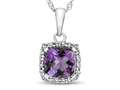10kt White Gold Cushion Amethyst with White Topaz accent stones Halo Pendant Necklace