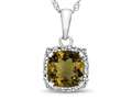 10kt White Gold Cushion Citrine with White Topaz accent stones Halo Pendant Necklace