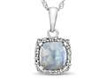 10kt White Gold Cushion Created Opal with White Topaz accent stones Halo Pendant Necklace
