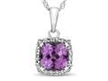 10kt White Gold Cushion Created Pink Sapphire with White Topaz accent stones Halo Pendant Necklace