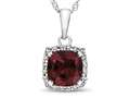 10kt White Gold 6mm Cushion Created Ruby with White Topaz accent stones Halo Pendant Necklace