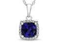 10kt White Gold Cushion Created Sapphire with White Topaz accent stones Halo Pendant Necklace