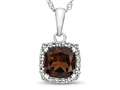 10k White Gold 6mm Cushion Garnet with White Topaz side stones Halo Pendant Necklace