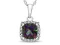 10kt White Gold Cushion Mystic Topaz with White Topaz accent stones Halo Pendant Necklace