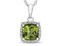 10kt White Gold Cushion Peridot with White Topaz accent stones Halo Pendant Necklace