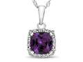 10kt White Gold Cushion Simulated Alexandrite with White Topaz accent stones Halo Pendant Necklace