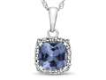 10kt White Gold Cushion Simulated Aquamarine with White Topaz accent stones Halo Pendant Necklace