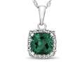 10kt White Gold Cushion Simulated Emerald with White Topaz accent stones Halo Pendant Necklace