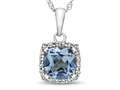 10kt White Gold Cushion Swiss Blue Topaz with White Topaz accent stones Halo Pendant Necklace