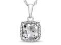 10kt White Gold Cushion White Topaz with White Topaz accent stones Halo Pendant Necklace
