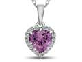 10k White Gold 6mm Heart Shaped Created Pink Sapphire with White Topaz accent stones Halo Pendant Necklace
