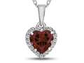 10k White Gold 6mm Heart Shaped Created Ruby with White Topaz accent stones Halo Pendant Necklace