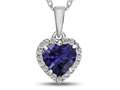 10kt White Gold 6mm Heart Shaped Created Sapphire with White Topaz accent stones Halo Pendant Necklace