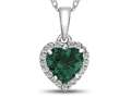 Finejewelers 10k White Gold 6mm Heart Shaped Simulated Emerald with White Topaz accent stones Halo Pendant Necklace