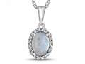 10kt White Gold 7x5mm Oval Created Opal with White Topaz accent stones Halo Pendant Necklace