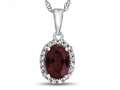 10kt White Gold 7x5mm Oval Created Ruby with White Topaz accent stones Halo Pendant Necklace