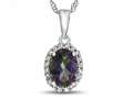 10kt White Gold Oval Mystic Topaz with White Topaz accent stones Halo Pendant Necklace