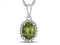 10kt White Gold Oval Peridot with White Topaz accent stones Halo Pendant Necklace