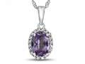 10kt White Gold Oval Simulated Alexandrite with White Topaz accent stones Halo Pendant Necklace