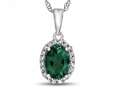 10kt White Gold Oval Simulated Emerald with White Topaz accent stones Halo Pendant Necklace