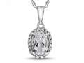 10kt White Gold Oval White Topaz with White Topaz accent stones Halo Pendant Necklace