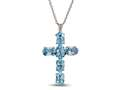 Finejewelers 6 Oval Sky Blue Topaz Cross Pendant Necklace - 18 Inch Chain Included