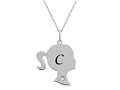 Finejewelers Girl Personalized Initial C Alphabet Pendant Necklace with CZ  16 -18 Inch Adjustable Chain