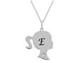Finejewelers Girl Personalized Initial E Alphabet Pendant Necklace with CZ  16 -18 Inch Adjustable Chain