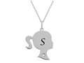 Finejewelers Girl Personalized Initial S Alphabet Pendant Necklace with CZ  16 -18 Inch Adjustable Chain