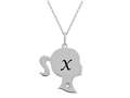 Finejewelers Girl Personalized Initial X Alphabet Pendant Necklace with CZ  16 -18 Inch Adjustable Chain