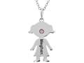 Finejewelers Girl Personalized Name Pendant Necklace with Simulated Birthstone 18 Inch Chain
