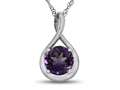 7mm Round Amethyst Twist Pendant Necklace