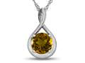 7mm Round Citrine Twist Pendant Necklace