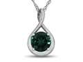 7mm Round Created Emerald Twist Pendant Necklace