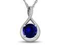7mm Round Created Sapphire Twist Pendant Necklace
