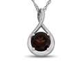 7mm Round Garnet Twist Pendant Necklace