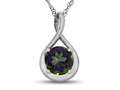 7mm Round Mystic Topaz Twist Pendant Necklace