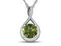 7mm Round Peridot Twist Pendant Necklace