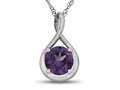 7mm Round Simulated Alexandrite Twist Pendant Necklace