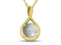 7mm Round Simulated Opal Twist Pendant Necklace
