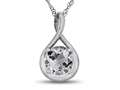 7mm Round White Topaz Twisted Pendant Necklace