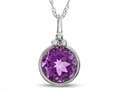 Finejewelers 8mm Round Bezel Set Amethyst Pendant Necklace - Chain Included