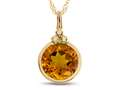 Finejewelers 8mm Round Bezel Set Citrine Pendant Necklace - Chain Included