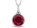 Finejewelers 8mm Round Bezel Set Created Ruby Pendant Necklace - Chain Included