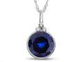Finejewelers 8mm Round Bezel Set Created Sapphire Pendant Necklace - Chain Included