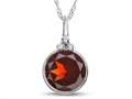 Finejewelers 8mm Round Bezel Set Garnet Pendant Necklace - Chain Included