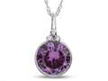 Finejewelers 8mm Round Bezel Set Simulated Alexandrite Pendant Necklace - Chain Included