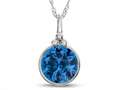 Finejewelers 8mm Round Bezel Set Simulated Aquamarine Pendant Necklace - Chain Included