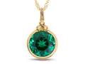 Finejewelers 8mm Round Bezel Set Simulated Emerald Pendant Necklace - Chain Included