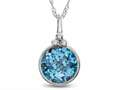 Finejewelers 8mm Round Bezel Set Swiss Blue Topaz Pendant Necklace - Chain Included